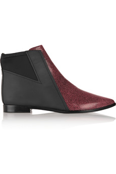 Tibi Philipa snake-effect leather and scuba-jersey ankle boots