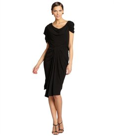 Badgley Mischka black drape stretch jersey short-sleeved dress