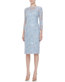3/4-Sleeve Lace-Overlay Dress   3/4-Sleeve Lace-Overlay Dress