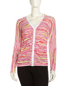 Lafayette 148 New York Matte Printed Woven Cardigan, Spectrum Multi