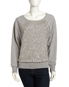 French Connection Metallic-Sequined Long-Sleeve Sweatshirt