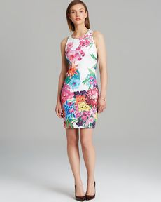 Laundry by Shelli Segal Dress - Sleeveless Floral Print Neoprene