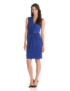 Ellen Tracy Women's Cap Sleeve V Neck Waist Detail Dress