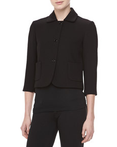 Michael Kors Boucle Three-Button Cropped Jacket, Black