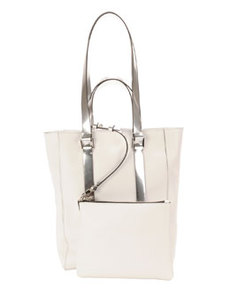 Leather North-South Mini Tote Bag, White/Gray   Leather North-South Mini Tote Bag, White/Gray
