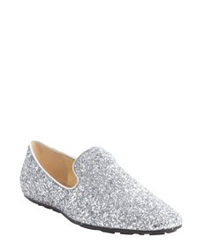 Jimmy Choo silver glitter covered leather loafers