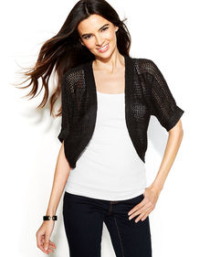 INC International Concepts Metallic Open-Knit Cropped Cardigan