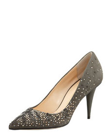 Suede Crystal-Embellished Pump, Gray   Suede Crystal-Embellished Pump, Gray