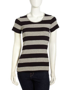 French Connection Back Yoke Tee, Black/Gray Stripe