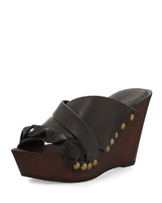 Charles David Menum Braided Leather Wedge Sandal, Black