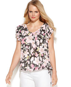 INC International Concepts Plus Size Printed Flutter-Sleeve Top