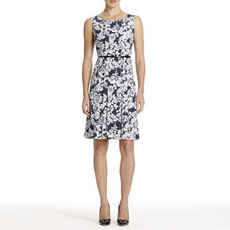 Navy Blue and White Fit and Flare Sheath Dress (Plus)