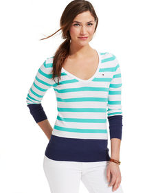 Tommy Hilfiger Long-Sleeve Striped Colorblocked Sweater