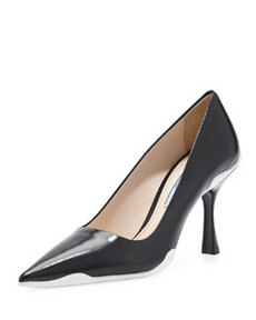 Spazzolato Pointed-Toe Pump with Flare Heel, Black/White   Spazzolato Pointed-Toe Pump with Flare Heel, Black/White