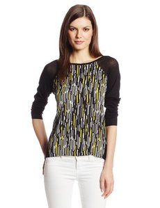 Calvin Klein Women's Printed Colorblock Sweater