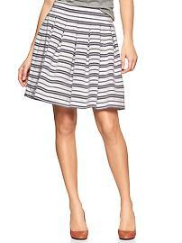 Pleated stripe flounce skirt
