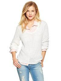 V-neck open-stitch sweater