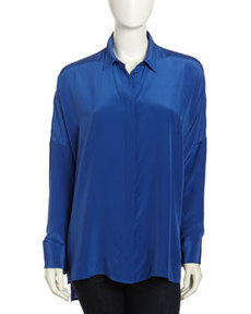 Paper Denim & Cloth Oversized Silk Blouse, Mazarine Blue