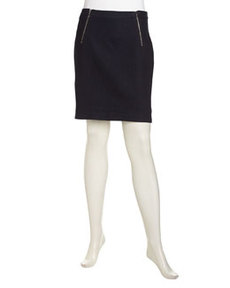 Laundry by Shelli Segal Double Zip Stretch Denim Pencil Skirt, Indigo