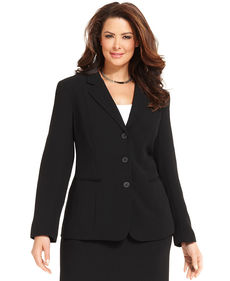 Jones New York Collection Plus Size Devon Three Button Blazer