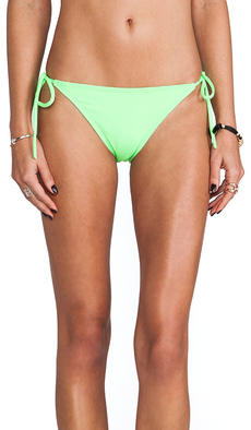 Susana Monaco Tie String Bikini Bottom in Green