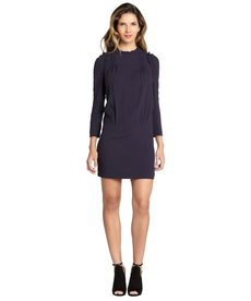 Miu Miu navy stretch crepe smocked long sleeve dress