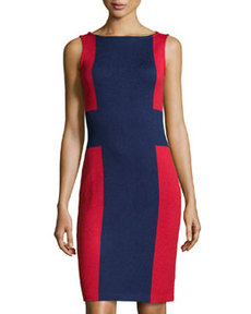 St. John Colorblock Knit Sheath Dress, Ink/Ruby