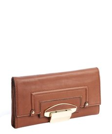 Kooba luggage brown leather foldout flip lock continental wallet
