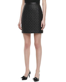JASON WU Quilted Leather Pencil Skirt, Black