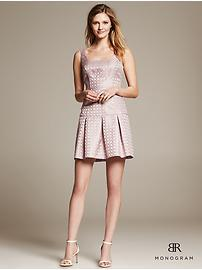 BR Monogram Pink Jacquard Fit-and-Flare Dress