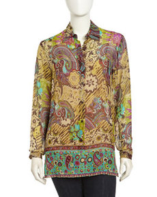 Go Silk Bishop Graphic-Print Silk Blouse