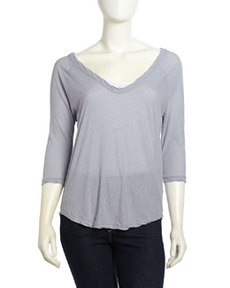 James Perse Relaxed Knit 3/4 Tee, Breeze