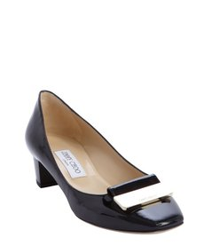 Jimmy Choo black patent leather logo buckle detail pumps