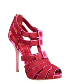 Christian Dior raspberry suede buckle cage sandals