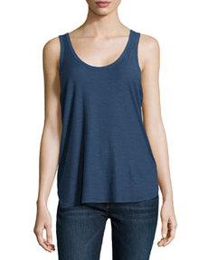 James Perse Slub Knit Baseball Tank Top, Neptune