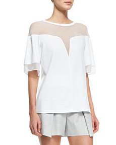 Robert Rodriguez Deep-V Sheer-Yoke Box Tee
