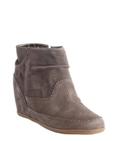 DV by Dolce Vita charcoal textured leather 'Keebly' perforated detail wedge bootie