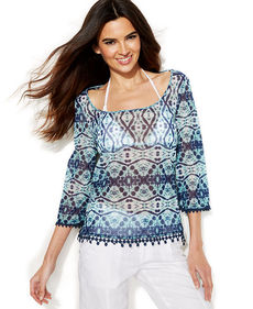 INC International Concepts Lace-Trim Printed Peasant Top