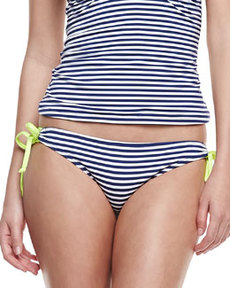 Malibu Striped Tie-Side Swim Bottom   Malibu Striped Tie-Side Swim Bottom
