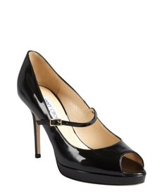 Jimmy Choo black patent leather peep toe mary jane 'Amina' platforms