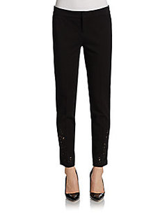 Saks Fifth Avenue BLACK Eyelet Ankle Skinny Pants