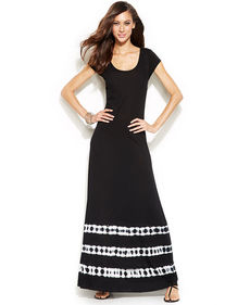 INC International Concepts Cap-Sleeve Tie-Dye Maxi Dress