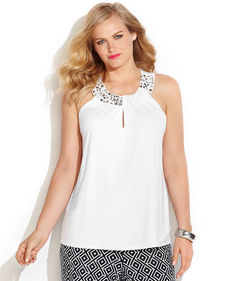 INC International Concepts Plus Size Sleeveless Embellished Halter Top