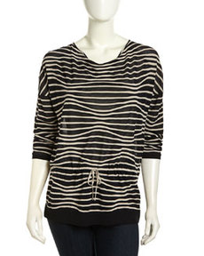 Lafayette 148 New York Ripple-Stripe Dolman Drawstring Sweater, Navy/Khaki