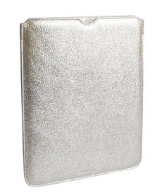 Jimmy Choo silver metallic leather 'Tyler' i-pad case