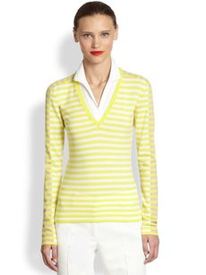 Akris Punto Collared-Insert Striped Top