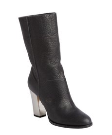 Jimmy Choo black grainy calf leather silvertone heel boots