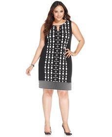 Alfani Plus Size Printed Sleeveless Sheath Dress
