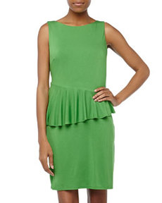Laundry by Shelli Segal Asymmetric-Peplum Jersey Dress, Mod Green