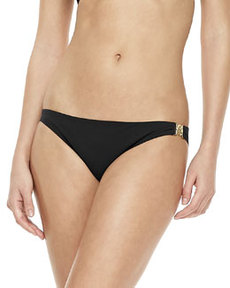 Tory Burch Logo-Side Swim Bottom, Black